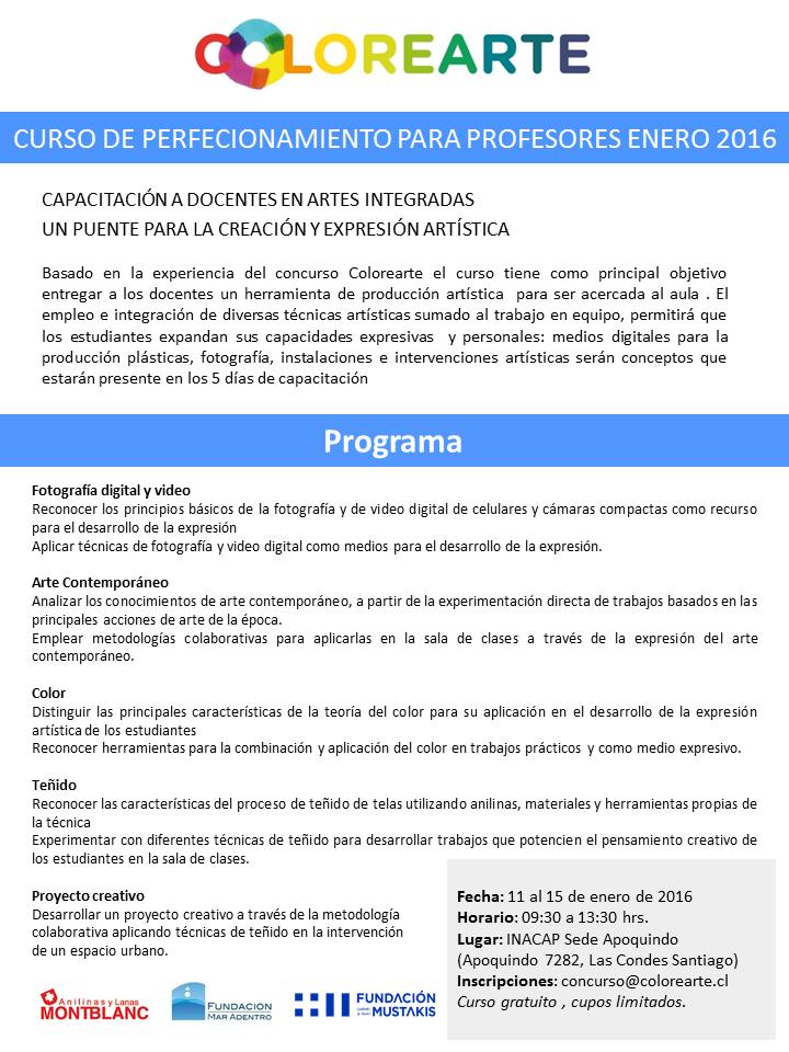 Curso de perfeccionamiento para profesores enero 2016 for Curso concurso docente 2016